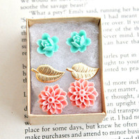 3 sweet post earrings. gift set. flowers. leaves. boho