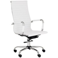 Serge White Leather High Back Swivel Office Chair - #M5401 | LampsPlus.com