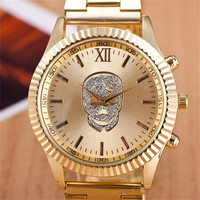 2016 Fashion Gold Rose Gold Skull Stainless Steel Round Dial Quartz Wristwatches Watch Hours Clock for Women Ladies Men