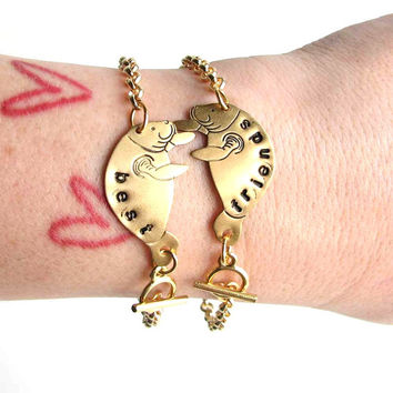 personalized bracelets - best friends manatee bracelet set - brass custom bff jewelry