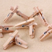 Catalina 25mm Mini Wooden Pegs Natural Spring Craft Baby Shower Clothespins 50pcs Per Lot