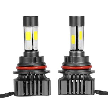 Pair of 80W 9600LM 9004 HB1 LED Headlight Fog Light COB All-In-One High Power Upgrade Replacement Bulb Kit 6000K White