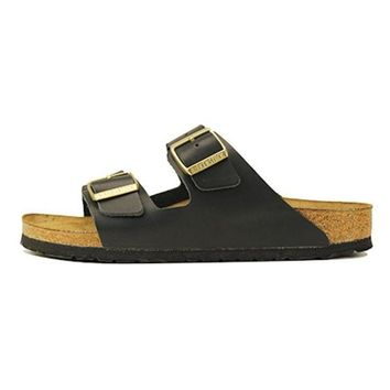 VON3TL Birkenstock for Women: Narrow Arizona Soft Footbed Hunter Black Sandals