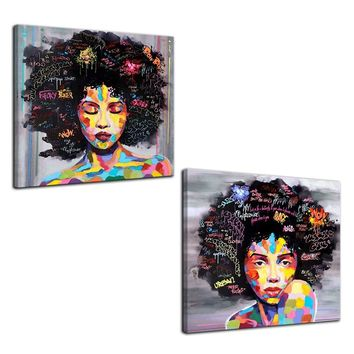 New Graffiti Street Wall Art Abstract Modern African Women Portrait Canvas Painting On Prints For Living Room No frame