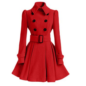 Rosetic Wool Blends Coats Women Autumn/Spring Fashion Belt Buttons Long Sleeve Lapel Collar A-Line Outerwear Christmas Red Coat