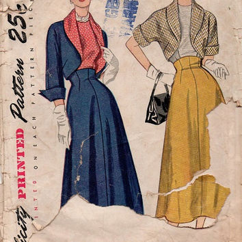 1940s Simplicity Vintage Sewing Pattern Bolero Suit Blouse Skirt Shawl Collar Dart Fitted Kimono Sleeves Hollywood Style Bust 33