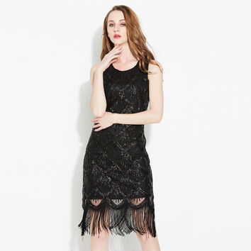 SEPTDEER Europe And The United States New Heavy Sequin Fringe Tassels Geometric Dress Club Clothing Australia SYN40