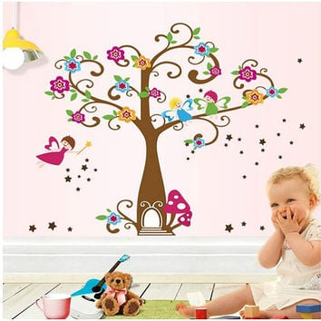 Fairy Wall Decals Fairy Tree with Flowers and Stars Girl room Wall decal tree wall decal nursery wall decal Tree wall sticker