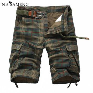 New Arrival 2016 Fashion Plaid Beach Shorts Mens Casual Camo Camouflage Shorts Military Short Pants Male Cargo Overalls 13M0575