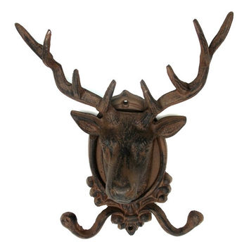 Cast Iron Elk Deer Head Wall Hook