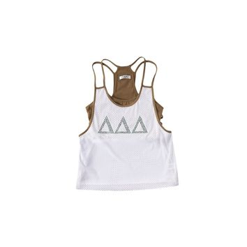 Delta Delta Delta Mesh Tank with Rhinestones and Attached Sporty Bralette