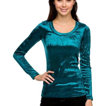 Velour Scoop Neck Top, Teal