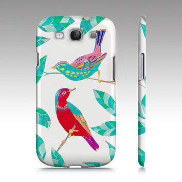 Colorful birds illustration Samsung Galaxy S3 case, Galaxy S4 case, iPhone 5c, iphone5s cute whimsical love birds modern art for your phone