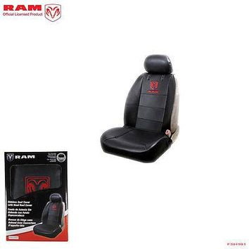 Licensed Official New Ram Elite Black Synthetic Leather Front Sideless Seat Cover Car Truck