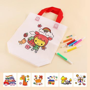 Colorful cartoon cloth bag DIY paingting handmade toys for children kids educational non-woven environmental bags drawing toy
