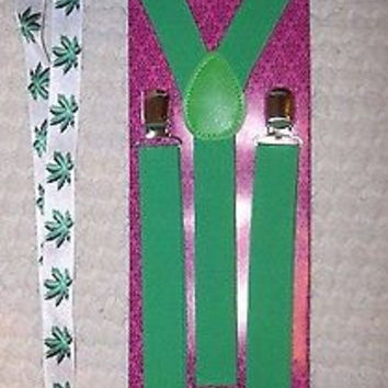 Marijuana MJ Bow Tie,Green Adj. Y-Back Suspenders & Marijuana MJ leaves Lanyard