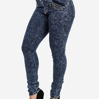 Acid Wash High Waist Skinny Jeans