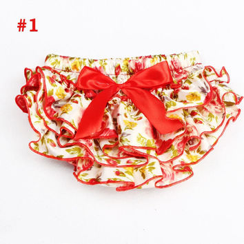 Baby Ruffle Bloomers  Newborn Diaper Cover Floral Pattern Baby Satin Shorts  Baby Girl Cake Smash Clothing Tutu Pettiskirt