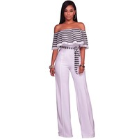 High Waist Strapless Jumpsuit Women Ruffles Patchwork Elegant Evening Party Overalls Bodysuit 2017 Plus Size Long Wide Leg Pants