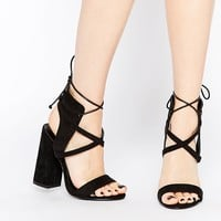 Daisy Street Block Heel Lace Up Heeled Sandals at asos.com