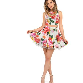 Jenn Ivory Floral Two Piece Prom Dress