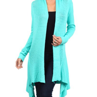 CLOSEOUT~In Style Crochet Knit Long Aqua Cardigan