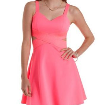 Neon Pink Bandage-Waist Cut-Out Skater Dress by Charlotte Russe b942d9422