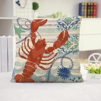 Lobster Cotton Linen Pillow Cover