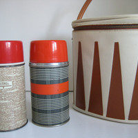 Vintage Aladdin Thermos Set with Carrying by JustEnjoyYourself