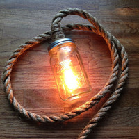 Rustic Ball Mason Jar Lamp Light w/ Edison by WildwoodDesignCo