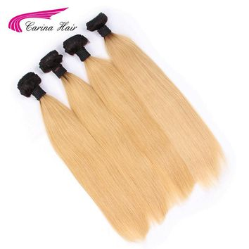 Carina Ombre Peruvian Hair T1B/27# Hair Weft 1PCS Ombre Color Straight Hair Bundles Non-Remy Human Hair Extensions Free Shipping