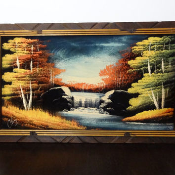 Vintage Framed Nature Woodland Painting on Black Velvet with Waterfalls - Mexico