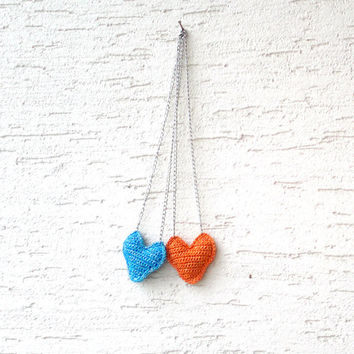 BFF crochet necklace set, heart necklaces,3D heart in any colors, metal chain, gift for her, valentines day gift, christmas gift