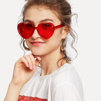 Heart shaped retro color sunglasses