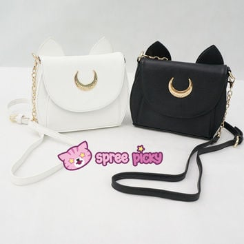 White/Black Sailor Moon Luna/Artemis Shoulder Bag SP152413 from SpreePicky