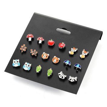 9 Pairs/lot Cute Fashion Resin Small Animal Fox Butterfly Stud Earrings Set For Children Women Owl Aros Pendientes Kids Brinco
