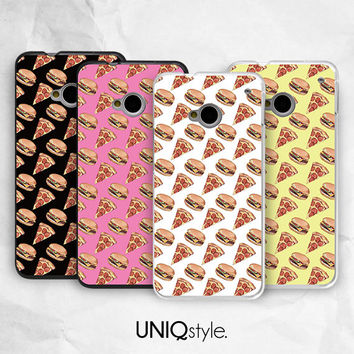 Pizza Burger food phone cover for HTC one m7, m8 case - htc one mini, one max case - Nokia lumia 520, 920, 1520 case - funny case - i19