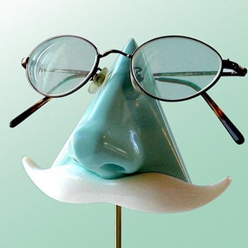 Nose Eyeglass Stand Mint Green Key Caddy White by ArtAkimbo