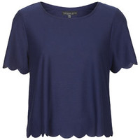 PETITE Scallop Frill Tee - Navy Blue