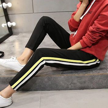 2017 New Fashion Women Loose Harem Pants High Waist Drawstring Side Striped Black Casual Pants Ankle Length Trousers Women Pants