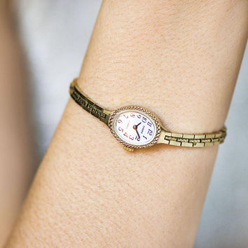 Gold plated cocktail watch Seagull, vintage women wrist watch tiny, petite woman watch oval face, girlfriend wristwatch bracelet Bday gift