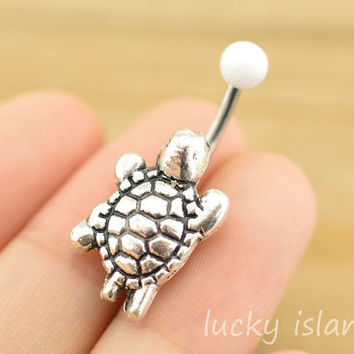 navel ring,belly button jewelry,turtle belly button rings,cute tortoise navel ring,piercing belly ring,friendship gift