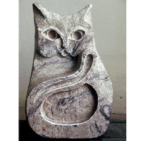Cat Sculpture, Stone Carving. Carved Cat, Stone hare ornament, UK, cat Statue, cat Carving, Stone Sculpture, Stone Carving, cat decor