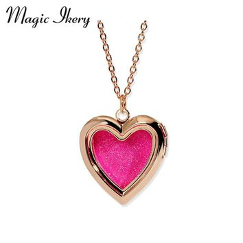 Magic Ikery Christmas Day Gift Enamel Hollow Charm Pendant Box Photo Frame Locket Necklace Fashion Heart Jewelry YT-N327