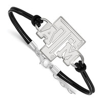 Texas A&M Sterling Silver Large Center Leather Bracelet