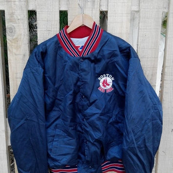 30% OFF Vintage BOSTON Red Sox New York Baseball Team Mlb Major League Baseball Black Varsity Satin Bomber Jacket Size XL