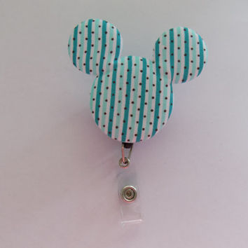 Teal Stripe Mickey Mouse Retractable I.D. Badge Holder