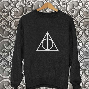 deathly hallows sweater Black Sweatshirt Crewneck Men or Women Unisex Size