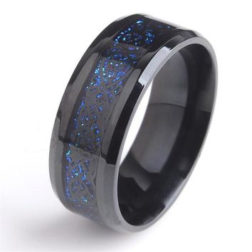 Black 8mm 316L Stainless steel Ring Wedding Band blue Carbon Fiber des Nibelungen Dragon rings for men