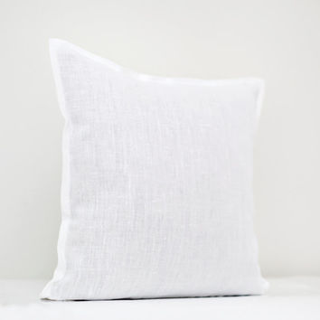 Pillow with piping - white linen pillow cover  - decorative pillows - euro shams
